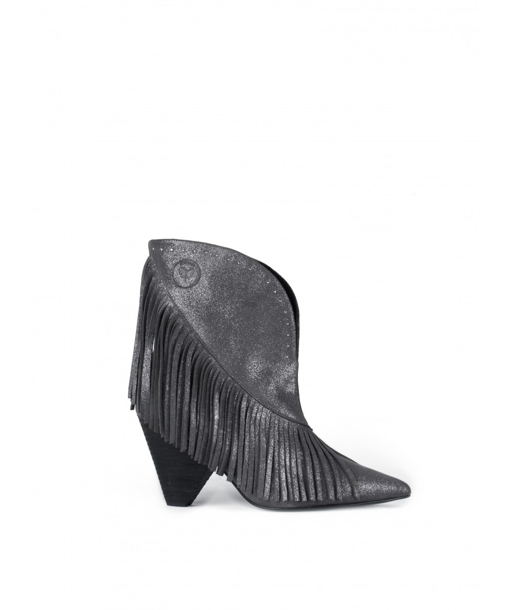 Adriana silver heel ankle boots
