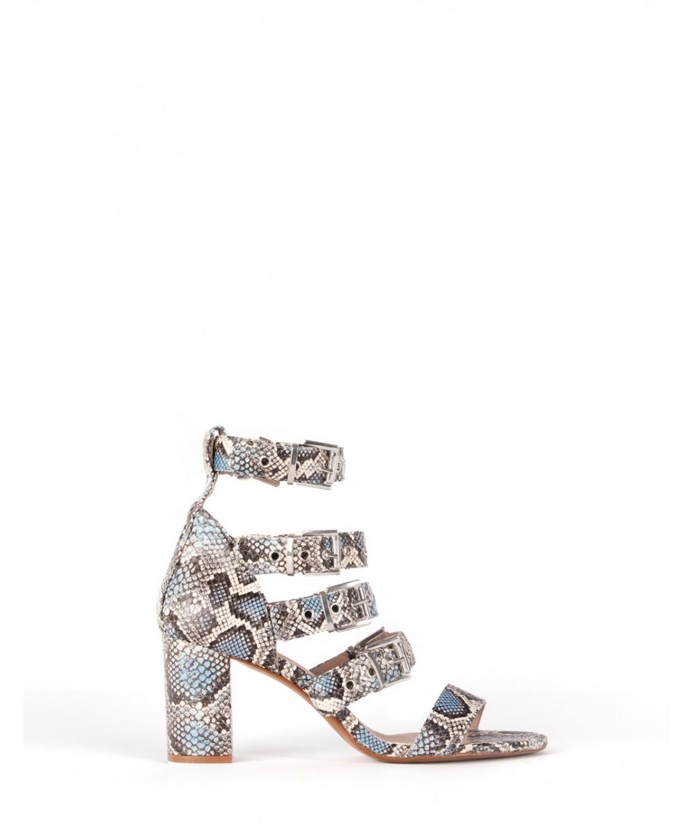 Turquoise boa Sabrine heel sandal