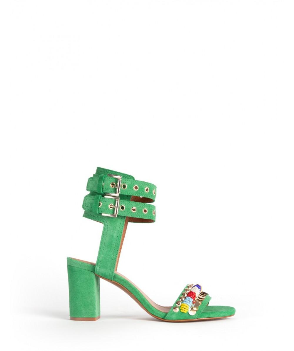 Sicily green heel sandals