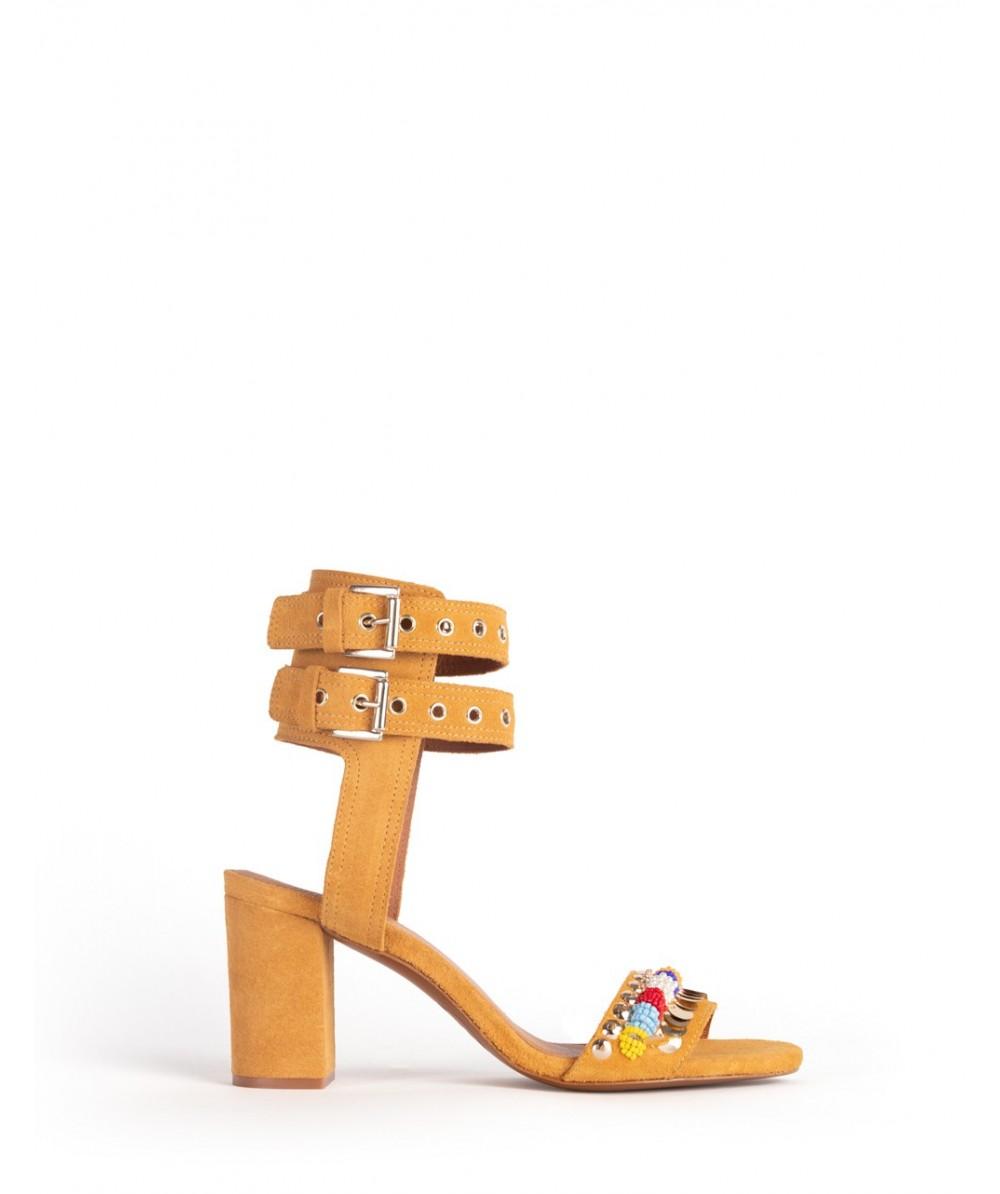 Sicily mustard heel sandals