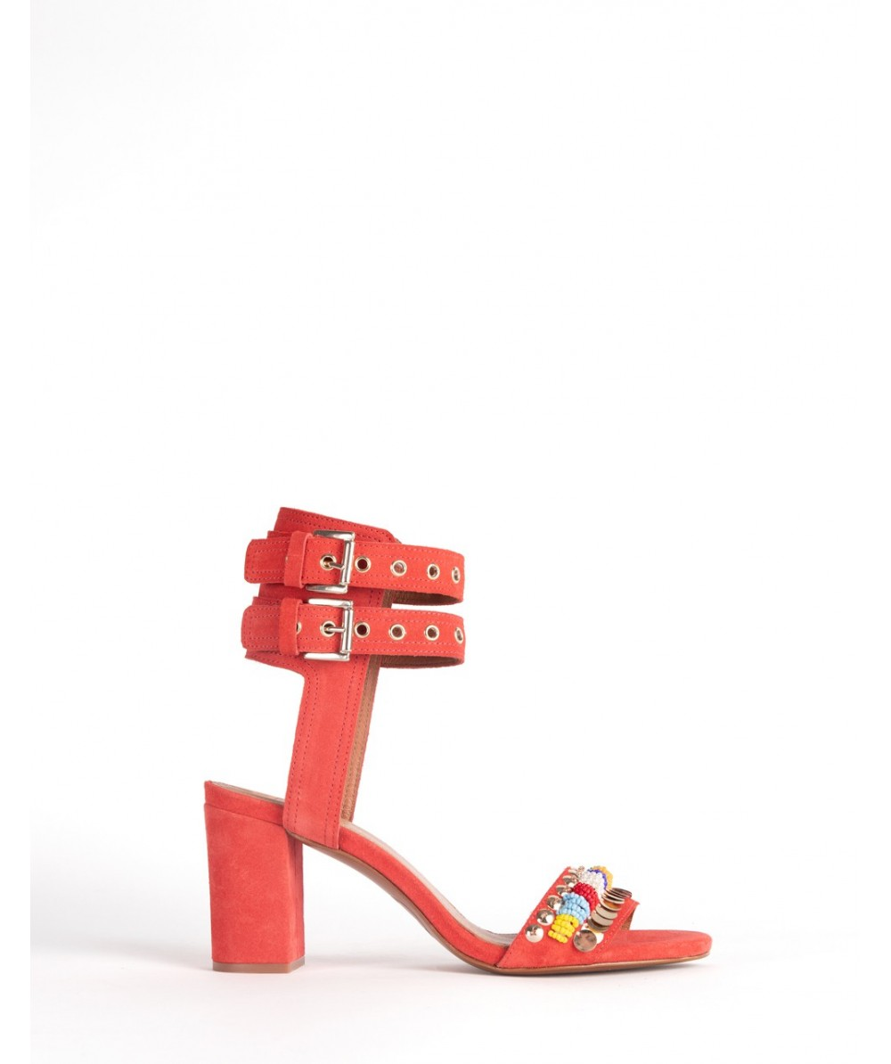 Sicily red heel sandals