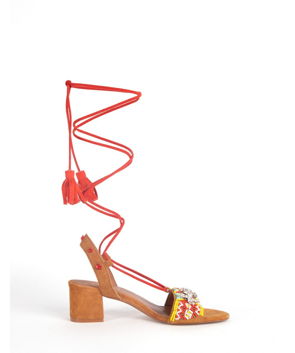 Lace up heel Etna cognac sandal