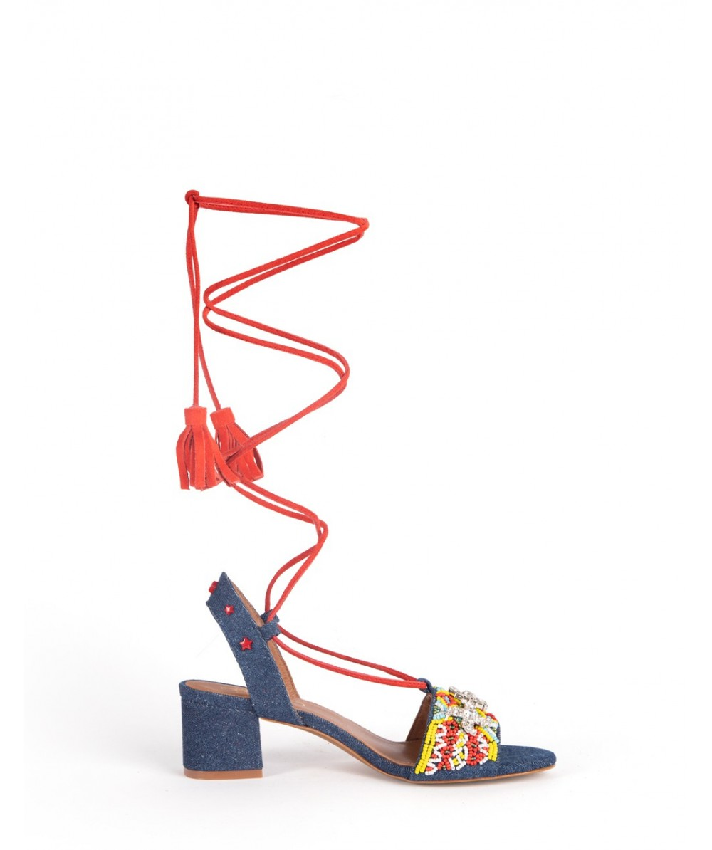 Lace up heel Etna denim sandal
