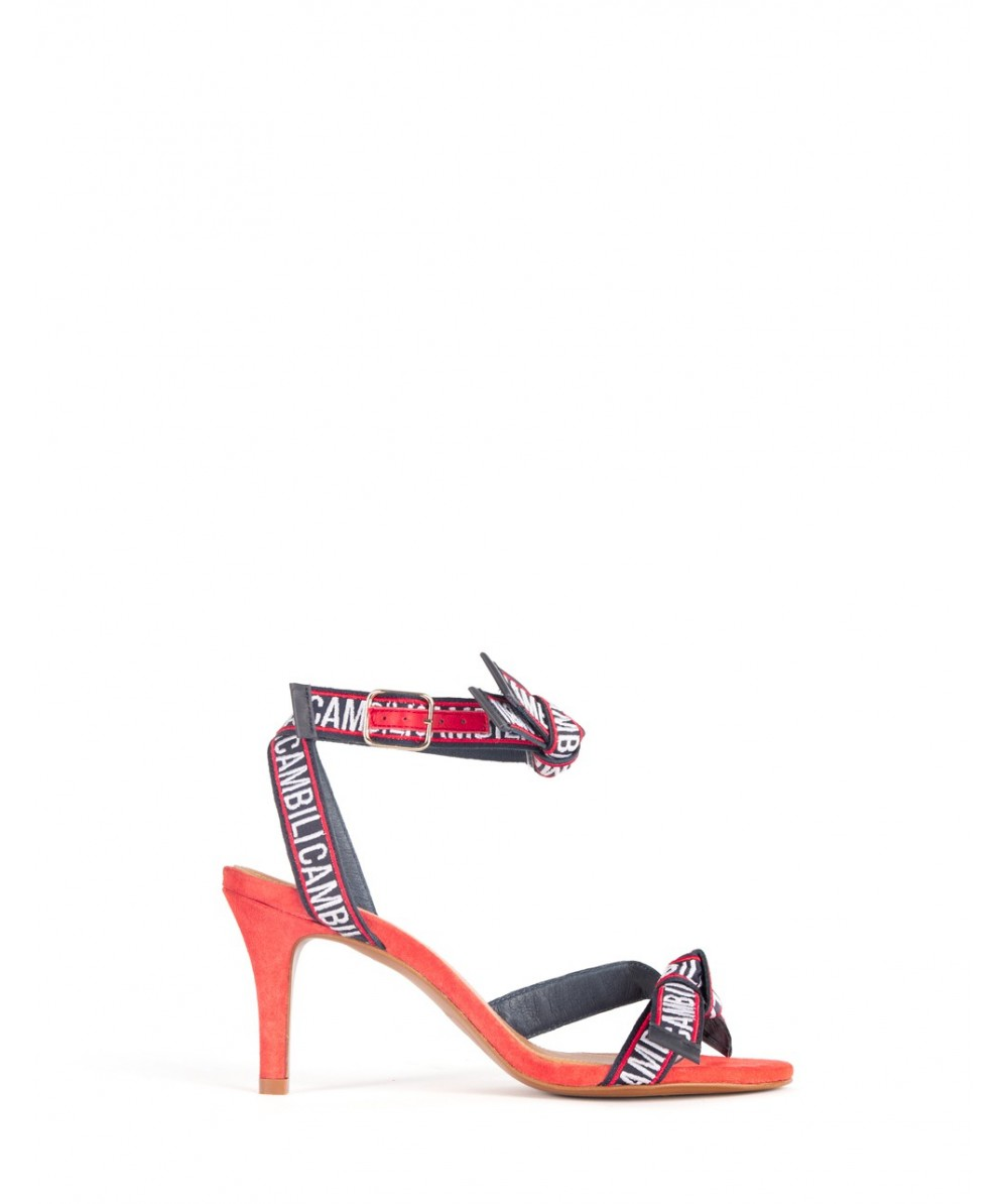 422e1d5126c028 Cambili red and navy Bella heeled barely sandals - Cambili