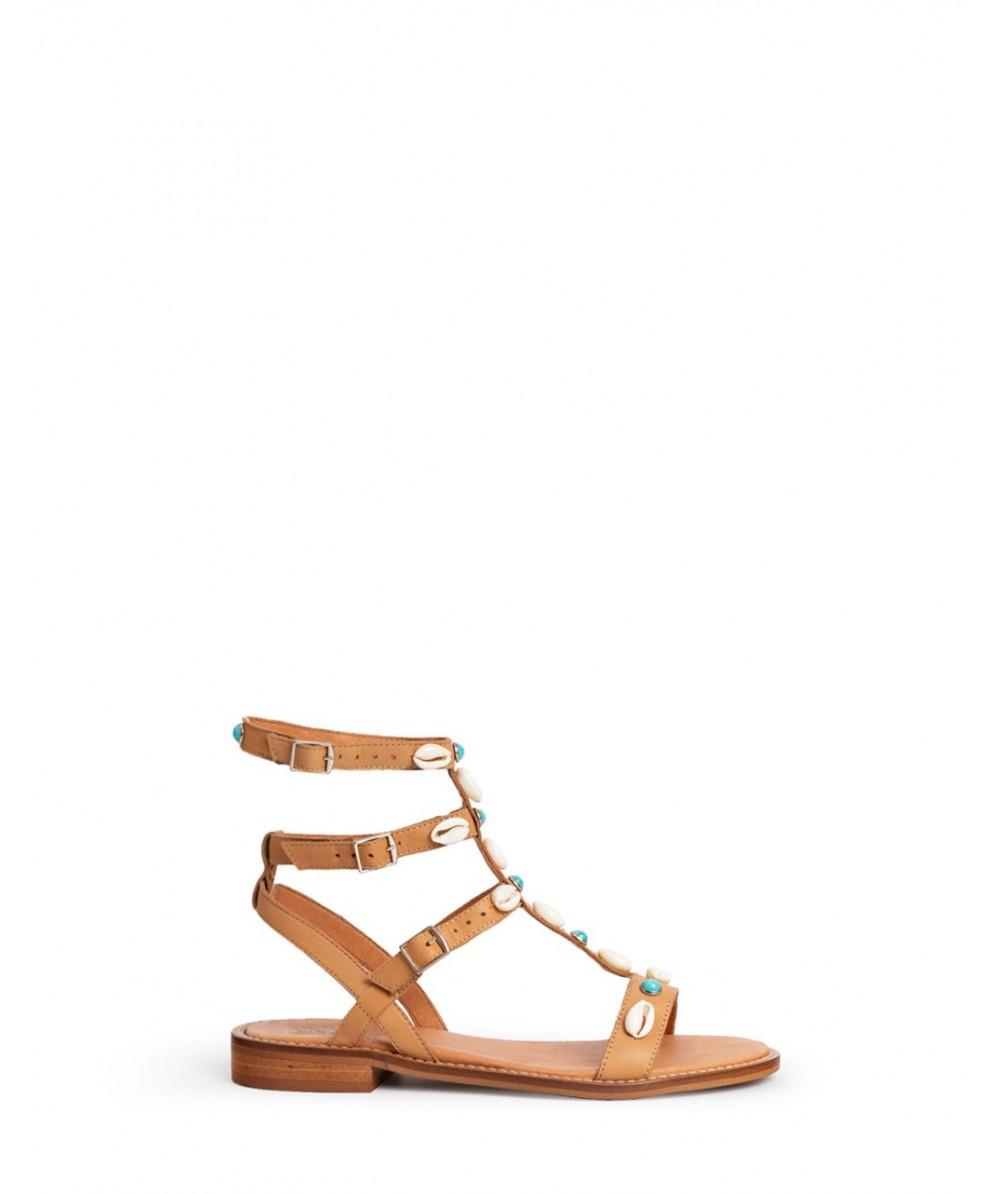 Mykonos turquoise flat sandals