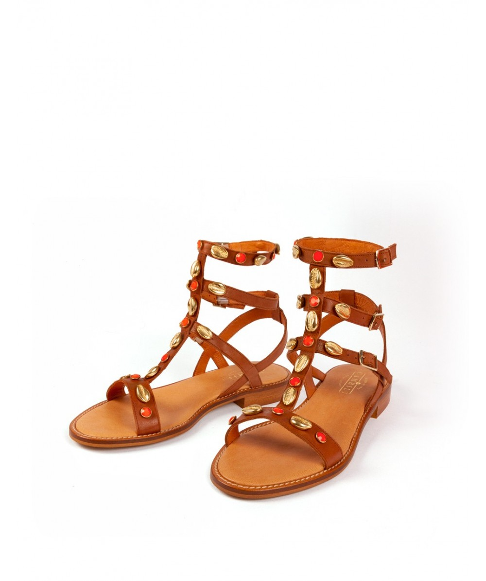 Mykonos coral flat sandals